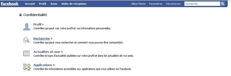 Capture confidentialité facebook