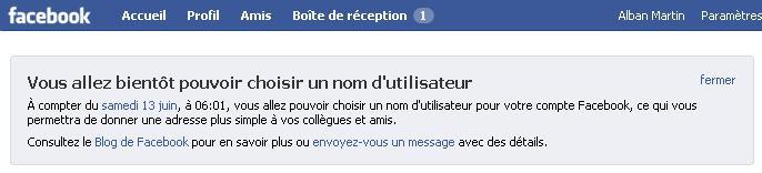 Choix nom utilisateur facebook
